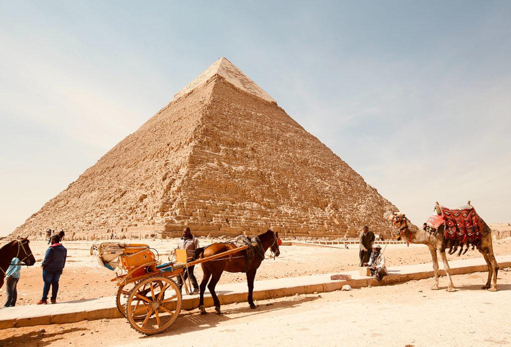 Piramides giza con camellos