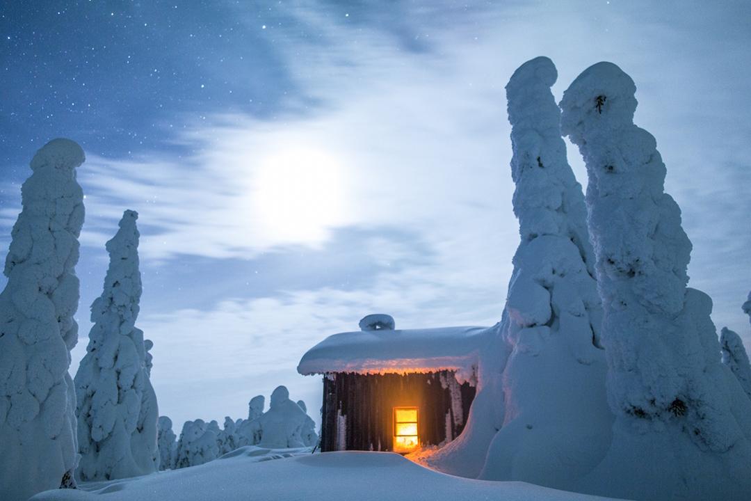 cabaña silvestre invierno finlandés nevado Nieve