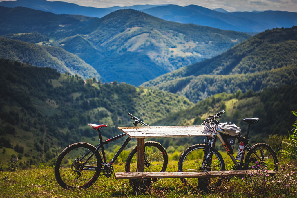 vista de Bicicletas en la montana