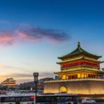 Torres de la campana y de los Tambores al atardecer en Xi'an